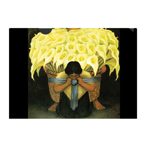 a letter-sized folder with an iconic image created by Diego Rivera. Rivera celebrated the sensual, sculptural calla lily many times, particularly in frescoes depicting peasants carrying bundles of them.