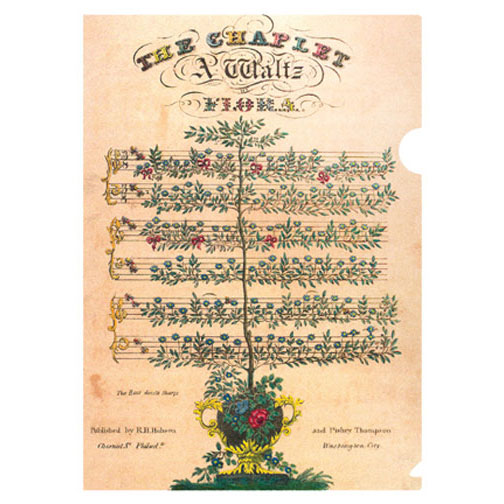 a letter-sized folder for music lovers. For music lovers, this image of hand-colored sheet music for piano features rose blossoms as the notes and bees as sharps. It was published in Philadelphia in the early 19th century.