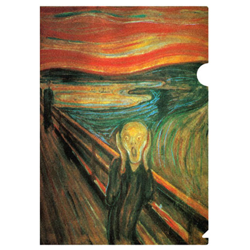 a letter sized folder with Edvard Munch's The Scream (1893). Munch's most famous work is a symbol of human alienation and the artist's own terror at confronting the modern world. It is an icon of modern art, a Mona Lisa for our time, and it therefore wins a prominent spot in our Classic Collection.